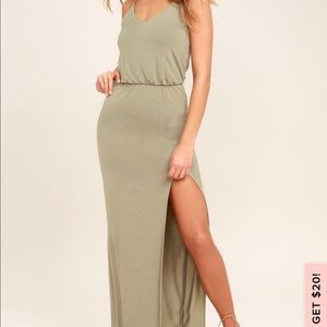 Watch the Sunset Olive Green Lulus Dress